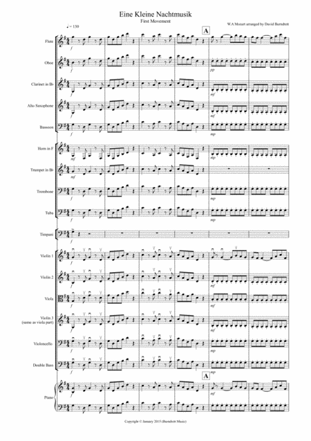 Eine Kleine (1st movement) for School Orchestra