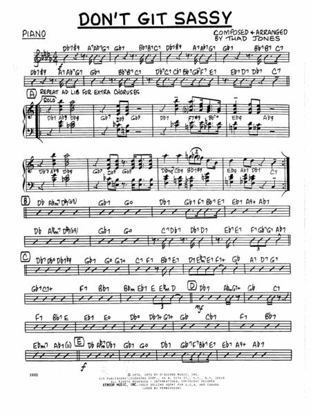 Don't Git Sassy - Piano