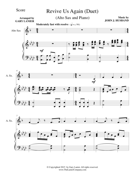 REVIVE US AGAIN (Duet – Alto Sax and Piano/Score and Parts)