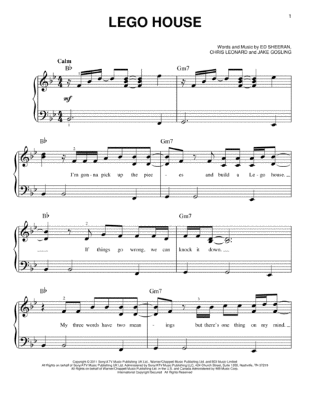 lego house sheet music pdf