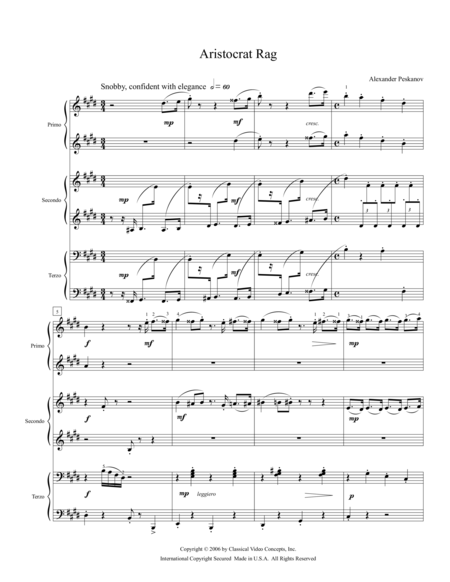Aristocrat Rag - Piano Trio (1 Piano, 6 Hands)