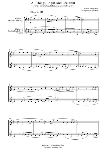 All Things Bright And Beautiful (for Eb-clarinet duet, suitable for grades 2-6)