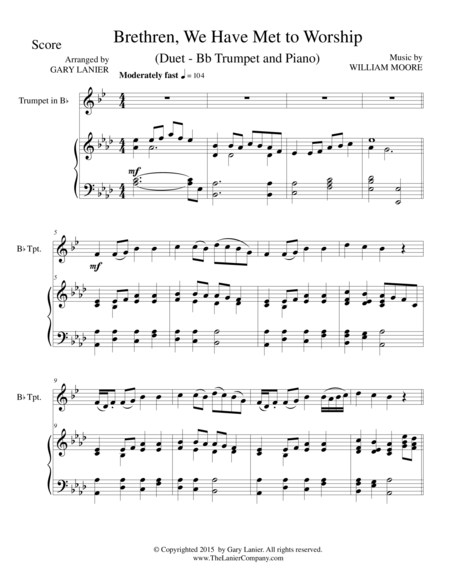 BRETHREN, WE HAVE MET TO WORSHIP (Duet – Bb Trumpet and Piano/Score and Parts)