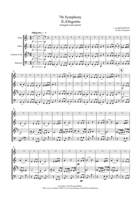 Beethoven: Symphony No.7 Op.92 Mvt.II Allegretto - wind quartet