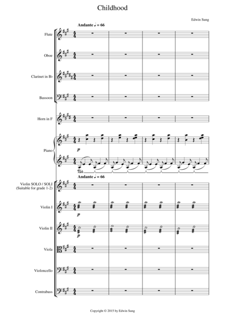 Childhood (for violin solo/soli (grades 1-2) and orchestra)