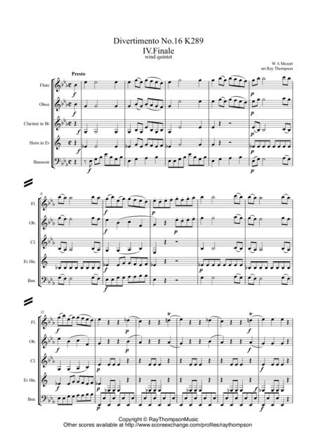 Mozart: Divertimento No.16 in Eb K289 Mvt IV. Finale (Presto) - wind quintet