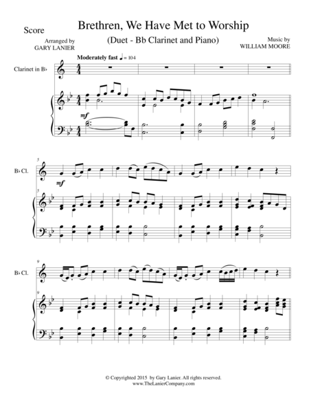 BRETHREN, WE HAVE MET TO WORSHIP (Duet – Bb Clarinet and Piano/Score and Parts)