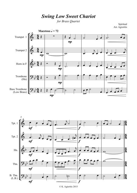 Swing Low Sweet Chariot - A Jazz Arrangement - for Brass Quartet