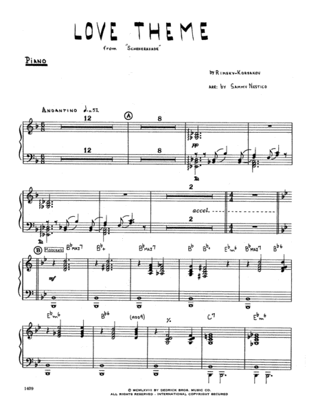 Love Theme From Scheherazade - Piano