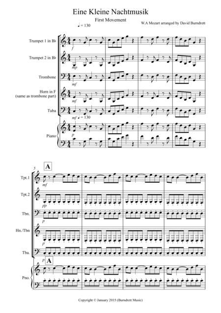 Eine Kleine (1st movement) for Brass Quartet