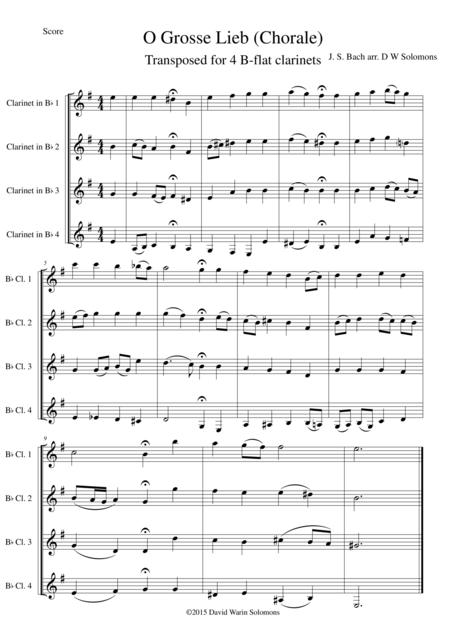 O grosse Lieb for 4 B-flat clarinets