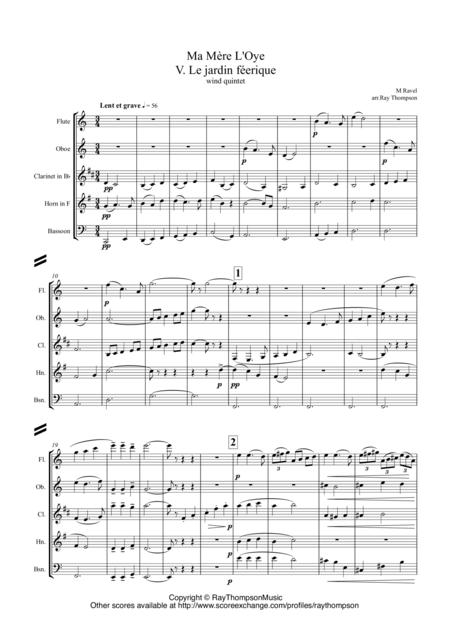 Ravel: Ma Mère L'Oye (Mother Goose Suite) Mvt V. Le jardin féerique (The fairy garden) arr.wind quintet