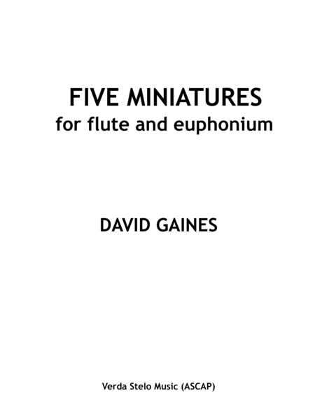Five Miniatures for flute and euphonium