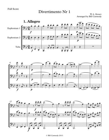 Mozart Divertimento Nr 1 K. 439a [1-5] Bass Clef trio (5 mvts)