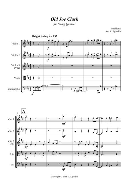 Old Joe Clark - for String Quartet