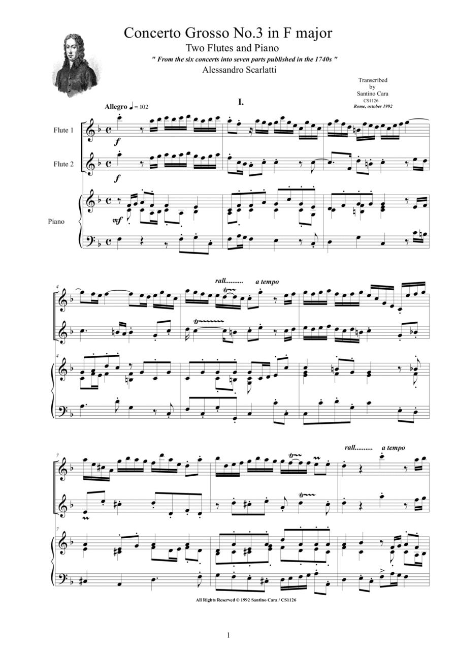 Concerto grosso no.3 in F - Two flutes and piano-Scarlatti A