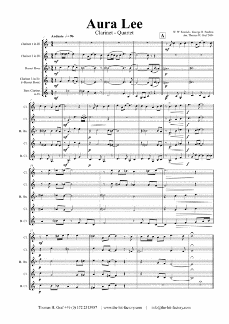Aura Lee - Love me tender - Elvis - Clarinet Quartet