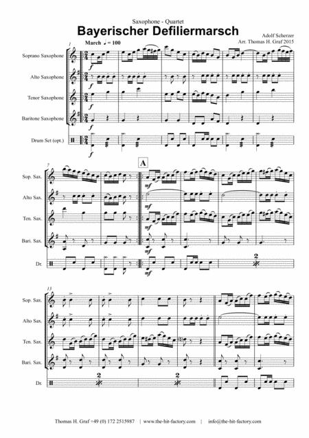 Bayerischer Defiliermarsch - German March - Oktoberfest - Saxophone Quartet