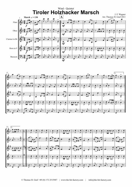 Tiroler Holzhacker Marsch - German Polka March - Oktoberfest - Wind Quintet