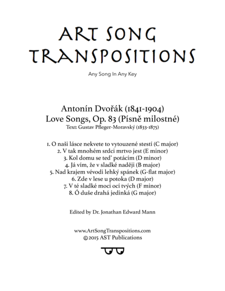 Love Songs, Op. 83 (Transposed down one whole step)