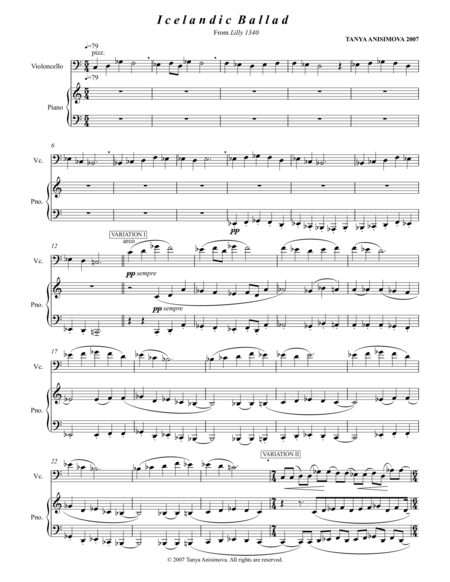 Icelandic Ballad For Cello and Piano, 2007, Full Score