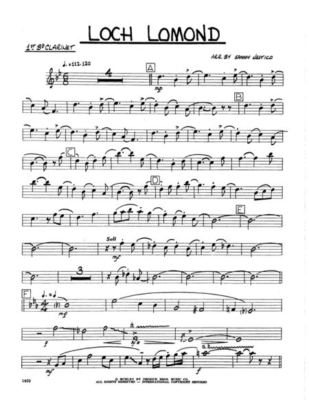 Loch Lomond - 1st Bb Clarinet