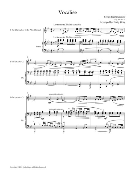Vocalise, for E-flat (or Alto) Clarinet and Piano