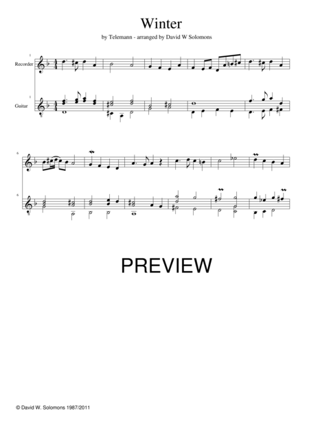 Winter for recorder and guitar