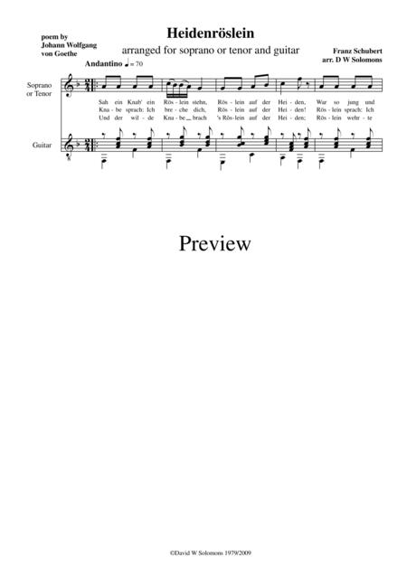 Heidenröslein high voice (with simplified guitar part)
