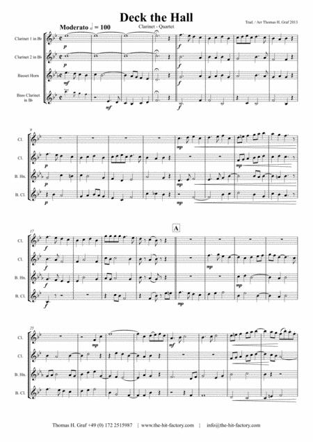 Deck the halls - Christmas Charol - Polyphonic - Clarinet Quartet