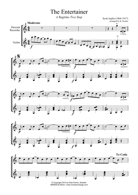 The Entertainer, Ragtime (easy, abridged) for descant recorder and guitar
