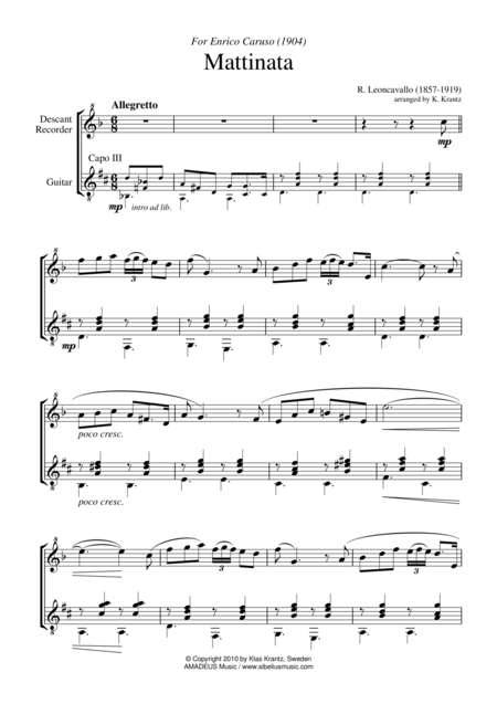Mattinata for descant recorder and guitar
