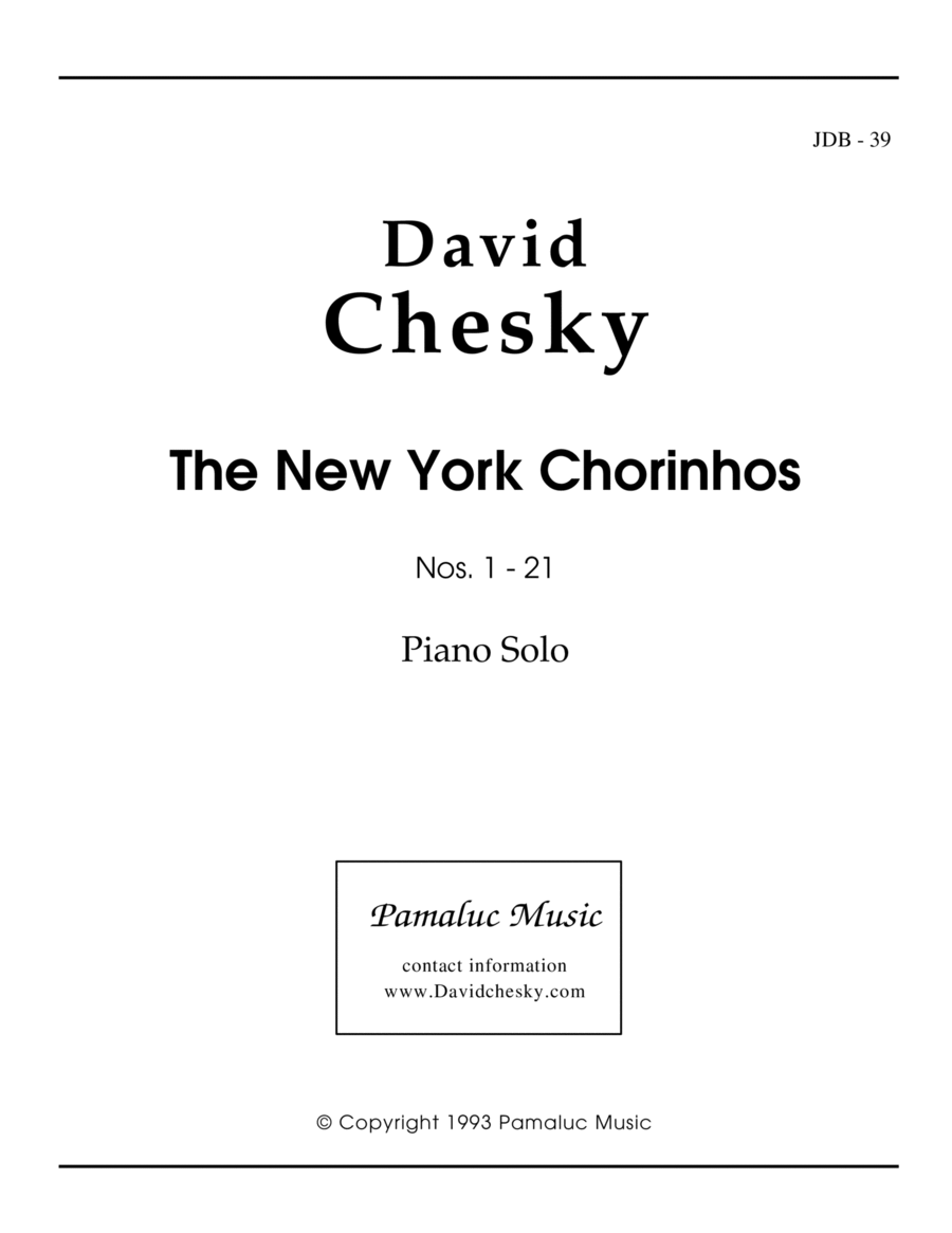 The New York Chorinhos For Solo Piano