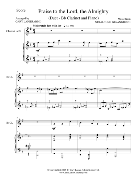 PRAISE TO THE LORD, THE ALMIGHTY (Duet – Bb Clarinet and Piano/Score and Parts)