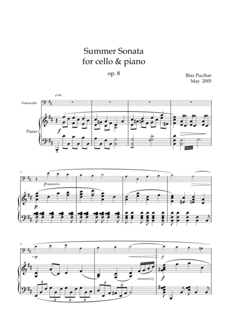 Summer Sonata for cello and piano