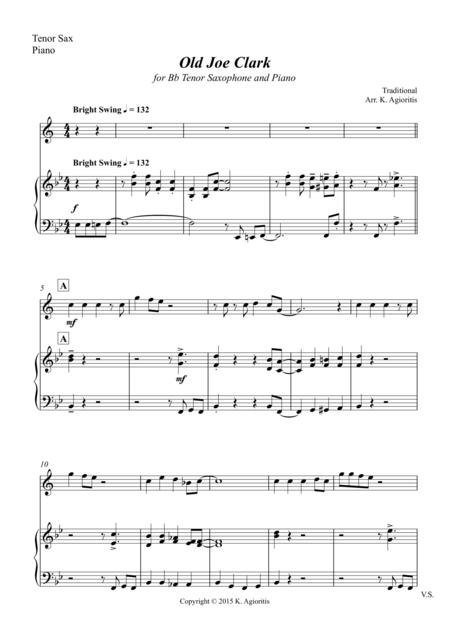 Old Joe Clark - for Tenor Saxophone and Piano