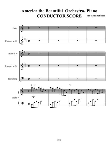 America the Beautiful  Piano & Orchestra (Tr,Tb,Hn,Cl,Fl)