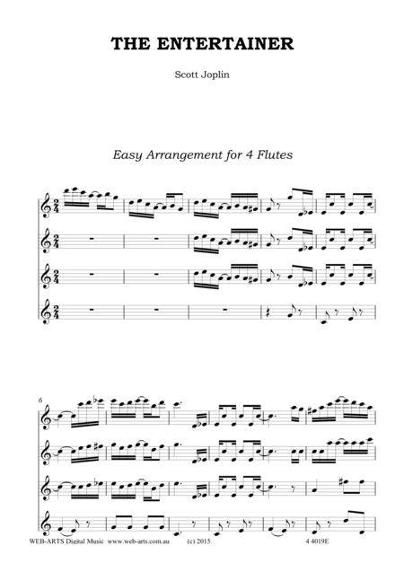 THE ENTERTAINER easy arrangement for 4 flutes