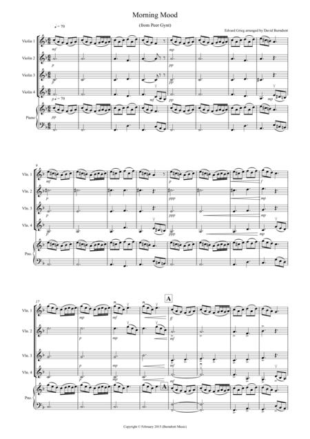 Morning Mood (from Peer Gynt) for Violin Quartet