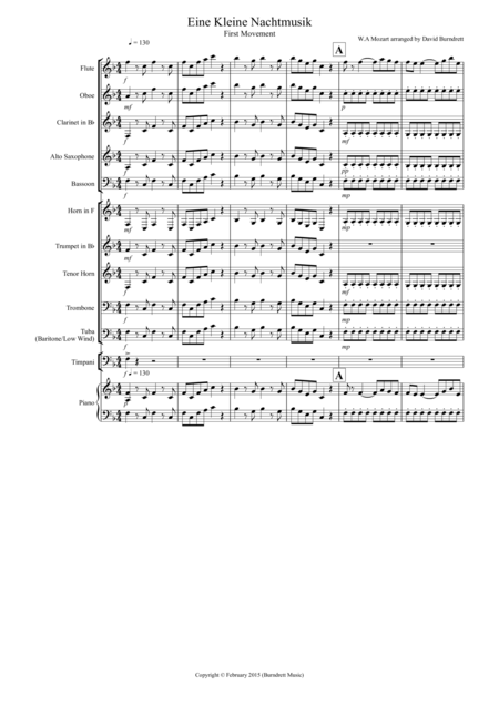 Eine Kleine (first movement) for School Concert Band