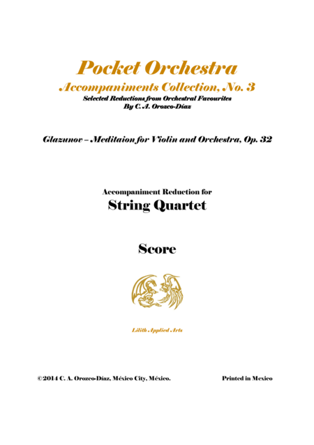 Glazunov - Meditation for Violin and String Quartet, Op. 32 (SCORE)