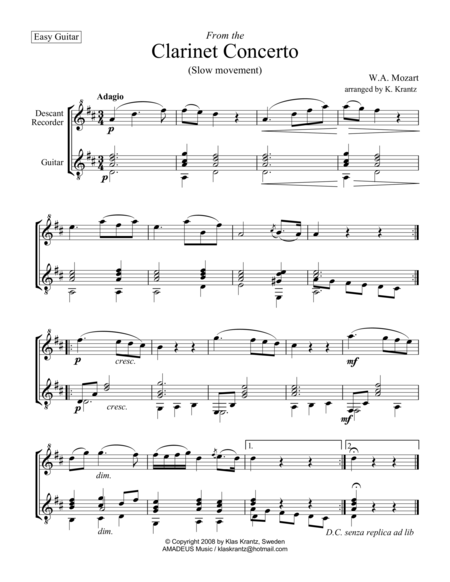 Adagio (from the clarinet concerto) for descant recorder and easy guitar