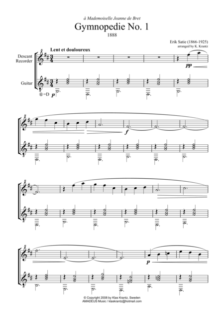 Gymnopedie (1,2,3) and Gnossienne (1,2,3+5) for descant recorder and guitar