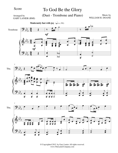 TO GOD BE THE GLORY (Duet – Trombone and Piano/Score and Parts)