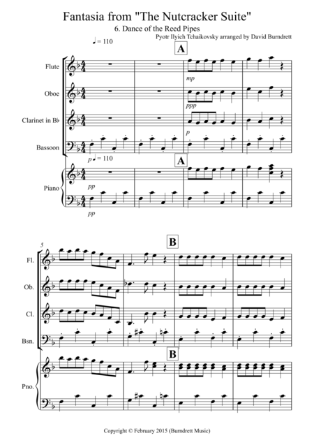 Dance of the Reed Pipes (Fantasia from Nutcracker) for Wind Quartet