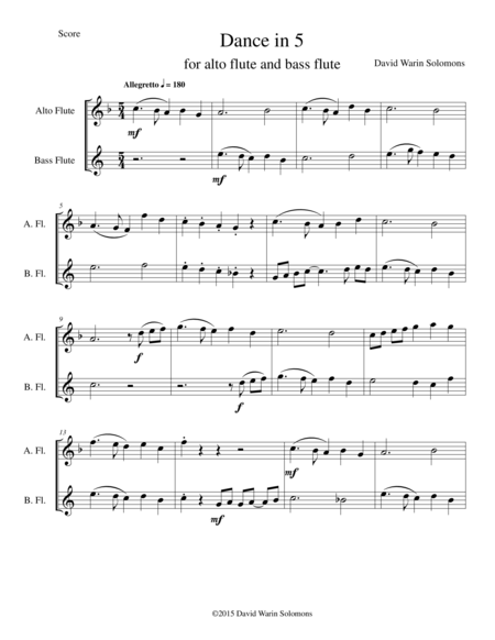 Dance in 5 for alto and bass flutes