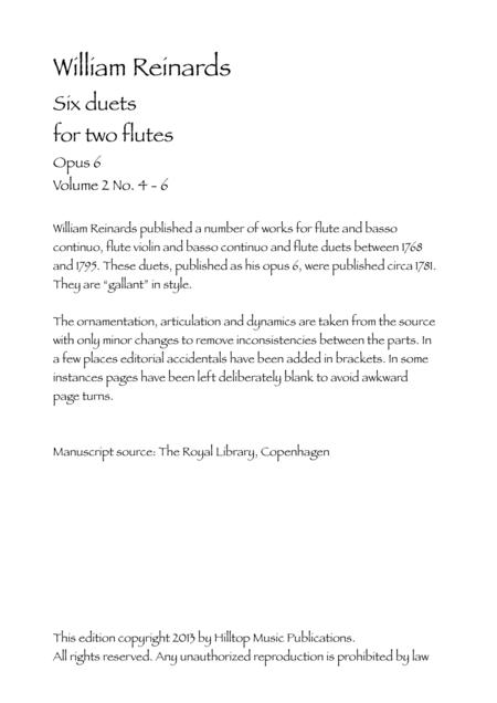 Reinhards Six Flute Duets Op. 6 Volume 2 No. 4 - 6