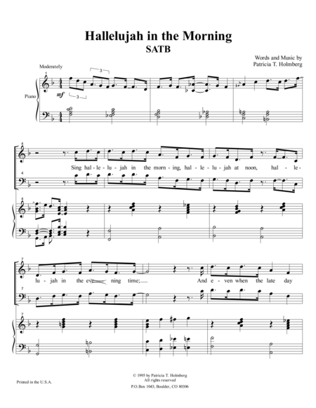 Hallelujah in the Morning - SATB