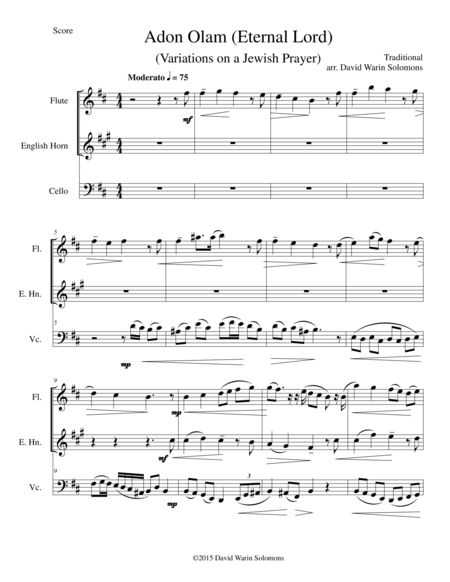Variations on Adon Olam for flute, cor anglais and cello