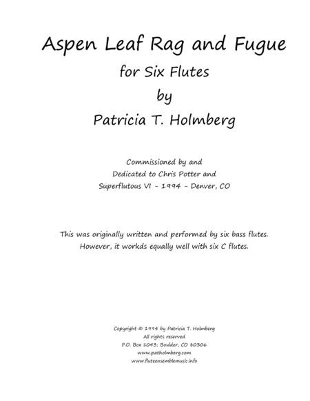 Aspen Leaf Rag and Fugue for Six Flutes